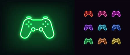 Neon game controller icon. Neon joystick sign, set of wireless gamepad for game console in vivid color. Videogame device, cybersport gadget. Glowing icon, sign, symbol, UI element. Vector illustration