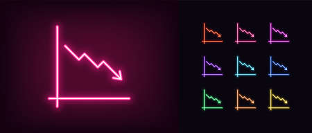 Neon downfall chart icon. Glowing neon drop chart sign, down arrow in vivid colors. Financial forecast, reduce results, falling trend. Bright icon set, sign, symbol for UI design. Vector illustration