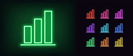 Neon upward graph icon. Glowing neon growth diagram sign, up bar chart in vivid colors. Financial forecast, enhance results, growing trend. Bright icon set, sign, symbol for UI. Vector illustration Vettoriali
