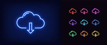 Neon cloudy download icon. Glowing neon cloud storage sign, set of isolated network server service in vivid colors. Cloud downloading data platform. Icon, sign, symbol for UI. Vector illustration Vettoriali