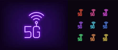 Neon 5G network icon. Glowing neon 5g technology sign, high speed internet in vivid colors. Fast internet of 5 generation, hotspot. Bright icon set, sign, symbol for UI design. Vector illustration Vettoriali