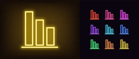 Neon downfall graph icon. Glowing neon drop diagram sign, down bar chart in vivid colors. Financial forecast, reduce results, falling trend. Bright icon set, sign, symbol for UI. Vector illustration Illusztráció