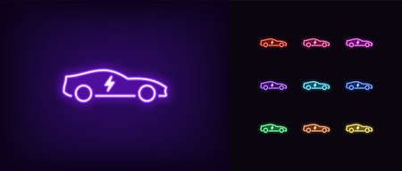 Neon electric car icon. Glowing neon electro car sign, electric vehicle in vivid colors. Eco fuel technology, car charge station by electricity. Bright icon set, sign, symbol. Vector illustration