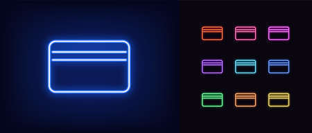 Neon bank card icon. Glowing neon credit card sign, online banking in vivid colors. Virtual card, internet purchase, money transfer. Bright icon set, sign, symbol for UI design. Vector illustration