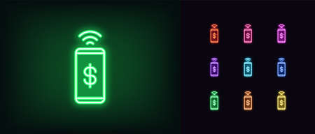 Neon phone payment icon. Glowing neon mobile payment transaction sign, phone money transfer. NFC technology, mobile banking. Bright icon set, sign, symbol for UI design. Vector illustration