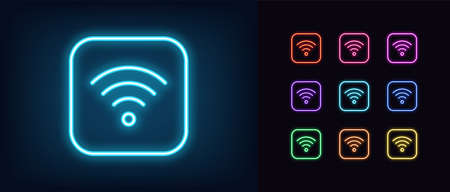 Neon wifi icon. Glowing neon wifi sign, wireless internet technology in vivid colors. Wifi button, mobile internet hotspot. Bright icon set, sign, symbol for UI design. Vector illustration