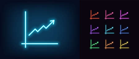 Neon upward chart icon. Glowing neon growth chart sign, up arrow in vivid colors. Financial forecast, enhance results, growing trend. Bright icon set, sign, symbol for UI design. Vector illustration