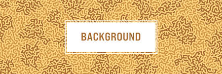 Turing background, organic liquid texture. Pattern with fluid ink shapes, chocolate brown color. Widescreen backdrop, panorama graphic template. Vector illustration. Memphis style, package design Vettoriali