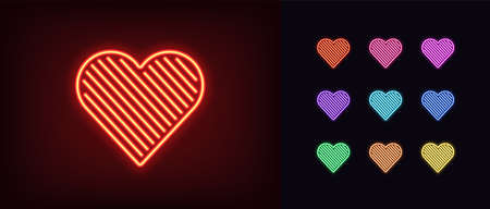 Neon heart icon. Glowing neon heart sign with line texture, amour shape in vivid colors. Romantic silhouette, health care, love passion. Icon set, sign, symbol for UI. Vector illustration