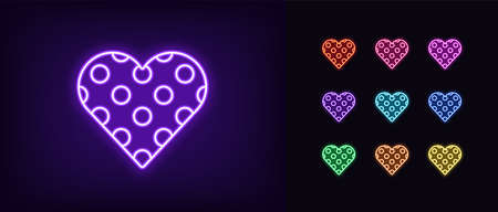 Neon heart icon. Glowing neon heart sign with circle texture, amour shape in vivid colors. Romantic silhouette, health care, love passion. Icon set, sign, symbol for UI. Vector illustration