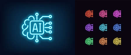 Neon AI icon. Glowing neon artificial intelligence sign, digital mind in vivid colors. Big data, deep learning, neural network, cyber brain. Icon set, sign, symbol for UI design. Vector illustration