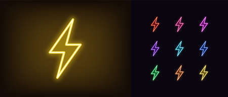 Neon lightning flash icon. Glowing neon thunder bolt sign, electrical discharge in vivid colors. Bright thunderbolt, electric storm, high voltage. Icon set, sign, symbol for UI. Vector illustration Vettoriali