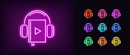 Neon audiobook icon. Glowing neon audio book sign with headphones, online library in vivid colors. Internet bookstore, online education, reading. Icon set, sign, symbol for UI. Vector illustration