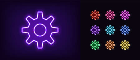 Neon gear icon. Glowing neon settings sign, gearwheel in vivid colors. Cogwheel, adjustment tool, app option, system configuration. Icon set, sign, symbol for UI. Vector illustration