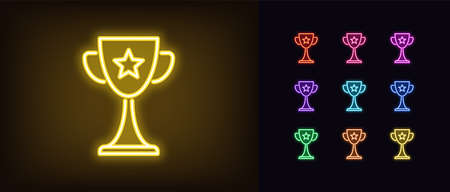Neon award cup icon. Glowing neon goblet sign, set of trophy in vivid colors. Winner, esports event, gaming reward, cyber sport achievement. Icon set, sign, symbol for UI. Vector illustration