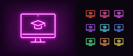 Neon online education icon. Glowing neon webinar sign, digital study in vivid colors. Video course, distance learning, teaching platform. Icon set, sign, symbol for UI. Vector illustration Ilustração