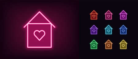Neon lovely home icon. Glowing neon house sign with heart, sweet home in vivid colors. Love house, cozy cottage, homely apartments. Icon set, sign, symbol for UI. Vector illustration