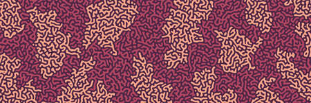 Turing background, organic liquid texture. Pattern with fluid ink shapes, chocolate brown color. Widescreen backdrop, panorama graphic template. Vector illustration. Memphis style, package design