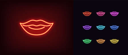 Red neon lips icon. Glowing neon woman lips sign, girl mouth in vivid colors. Sexy lip shape, woman beauty, passionate lady smile, love mood, glamor passion. Icon set, symbol. Vector illustration Illustration