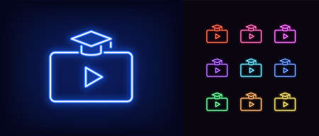 Neon video course icon. Glowing neon webinar sign, digital study in vivid colors. Online education platform, distance learning, teaching tutorial. Icon set, sign, symbol for UI. Vector illustration Ilustração