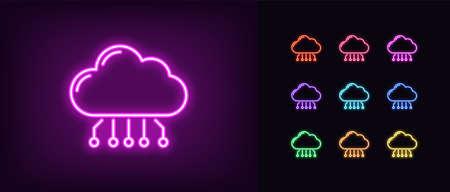 Neon cloud hosting icon. Glowing neon cloud service, online datacenter in vivid colors. SaaS solution, computing center, data exchange platform. Icon set, sign, symbol for UI. Vector illustration