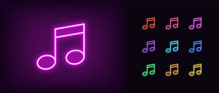 Neon music note icon. Glowing neon note sign, melody in vivid colors. Music festival, radio show, musical evening, karaoke, audio record. Icon set, sign, symbol for UI. Vector illustration