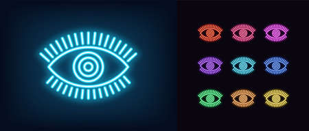 Neon magic eye icon. Glowing neon eye sign with circle iris, spiritual vision in vivid colors. Vettoriali