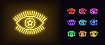 Neon magic eye icon. Glowing neon eye sign with star iris, spiritual vision in vivid colors.