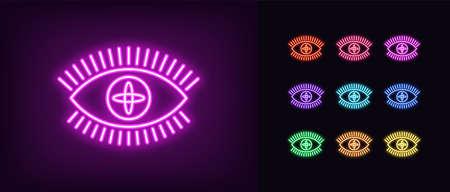 Neon magic eye icon. Glowing neon eye sign with galaxy iris, spiritual vision in vivid colors.