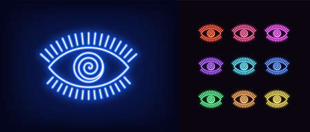 Neon hypnotic eye icon. Glowing neon eye sign with spiral iris, mesmeric vision in vivid colors. Mystic sight and suggestion, hypnosis, witchcraft. Icon set, sign, symbol for UI.