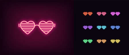 Neon women glasses icon. Glowing neon sunglasses with heart shapes, vivid eye wear. Fashion glasses, goggles with shutter, eye mask, party accessory. Icon set, sign, symbol. Vector Illustratie