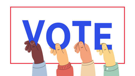 Human hands keep letters, word Vote. Text appeal for voters. Election of the President or Government, polling day in USA, political voting, referendum. Vector illustration, web banner and poster 矢量图像