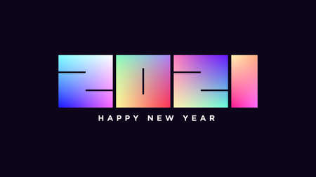Happy New 2021 Year. Iridescent number 2021, bold digits with colorful gradient. Greeting card,  Festive poster and banner. Vector illustration