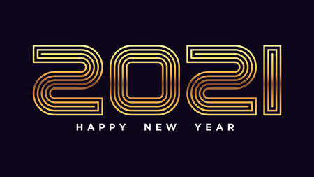 Happy New 2021 Year. Golden number 2021 with line texture, outline gold digits. Greeting card, Festive poster and banner. Vector illustration 矢量图像