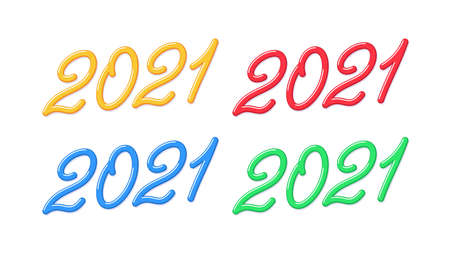 Yummy number 2021 for New Year, Set of inclined lettering, isolated jelly digits with skew. For greeting card, festive poster and banner. Yellow, red, blue and green colors. Vector illustration 矢量图像