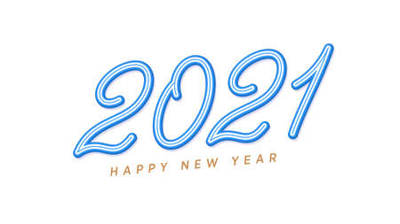 Happy New 2021 Year. Blue inclined lettering, outline number 2021, rounded digits with skew. Greeting card,   Festive poster and banner. Vector illustration