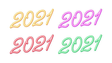 Outline number 2021 for New Year, Set of inclined lettering, isolated rounded digits with skew. For greeting card, festive poster and banner. Yellow, red, blue and green colors. Vector illustration