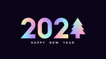 Happy New 2021 Year. Holographic number 2021 with Christmas tree, minimalistic hologram digits. Greeting card,  Festive poster and banner. Vector illustration