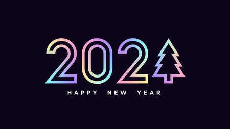 Happy New 2021 Year. Holographic outline number 2021 with Christmas tree, minimalistic hologram digits. Greeting card,   Festive poster and banner. Vector illustration