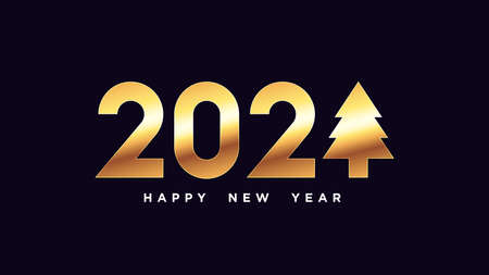 Happy New 2021 Year. Golden number 2021 with Christmas tree, shiny gold digits. Greeting card,   Festive poster and banner. Vector illustration