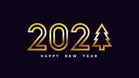 Happy New 2021 Year. Golden outline number 2021 with Christmas tree, shiny gold digits. Greeting card,   Festive poster and banner. Vector illustration