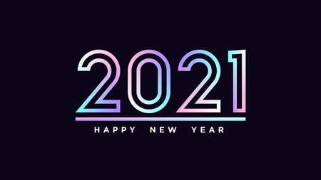 Happy New Year 2021. Holographic outline number 2021, minimalistic hologram digits. Greeting card, Festive  and banner. Vector illustration