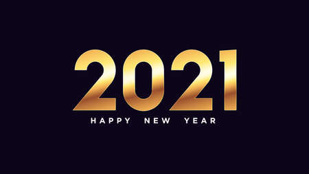 Happy New Year 2021. Golden number 2021, shiny gold digits. Year of the Ox. Greeting card,   Festive poster and banner. Vector illustration