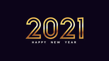 Happy New Year 2021. Golden outline number 2021, shiny gold digits. Year of the Ox. Greeting card,   Festive poster and banner. Vector illustration