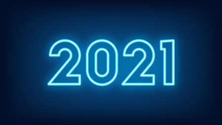 New Year 2021. Neon outline number 2021, glowing blue digits. Year of the Ox. Greeting card, Neon   Festive poster and banner. Vector illustration 矢量图像