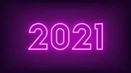 New Year 2021. Neon outline number 2021, glowing purple digits. Year of the Ox. Greeting card, Neon   Festive poster and banner. Vector illustration