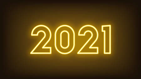 New Year 2021. Neon outline number 2021, glowing yellow digits. Year of the Ox. Greeting card, Neon   Festive poster and banner. Vector illustration