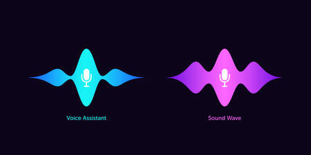 Wave shape with microphone for voice assistant. Abstract sound wave, voice recognition and command, audio waveform of smart assistant. Vector element for voice activation in mobile interface Illusztráció