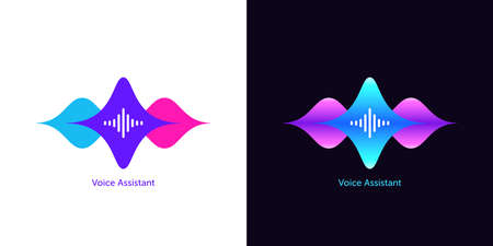 Acoustic wave shape for voice assistant, abstract sound wave. Voice dialing, control and speech recognition, audio waveform of smart assistant. Vector element for voice activation in mobile interface
