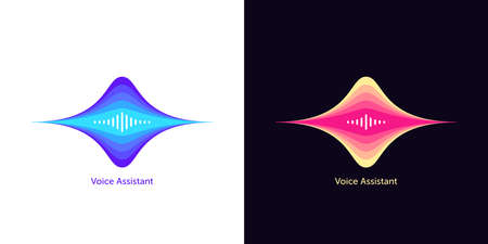 Sound wave shape for voice assistant. Abstract acoustic wave and equalizer, voice message of virtual assistant, audio waveform. Vector element for voice activation in mobile interface Illusztráció